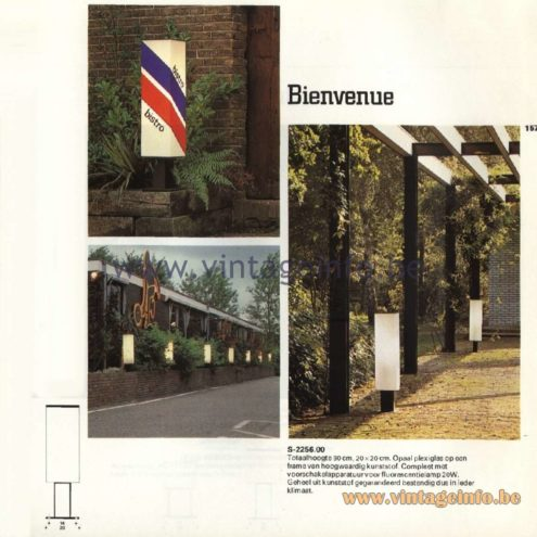 Raak Catalogue 11, 1978  - Outdoor Lamps Bienvenue (welcome) S-2256.00