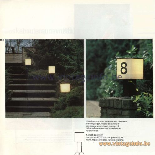 Raak Catalogue 11, 1978  - Outdoor Lamps Bienvenue (welcome) S-2309.00