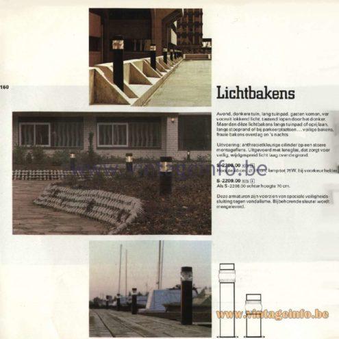 Raak Catalogue 11, 1978 - Raak Outdoor Lamps Lichtbakens - Light Beacons S-2208.00, S-2209.00