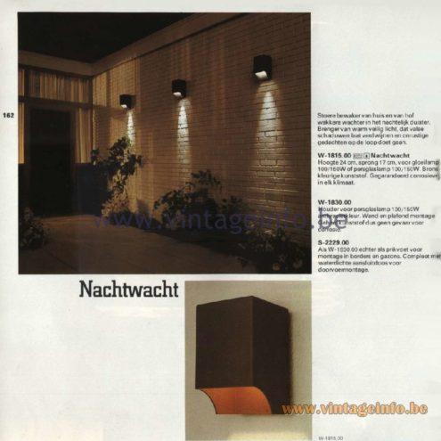 Raak Catalogue 11, 1978 - Raak Outdoor Lamps Nachtwacht - Night Watch W-1815.00, W-1830.00, S-2229.00