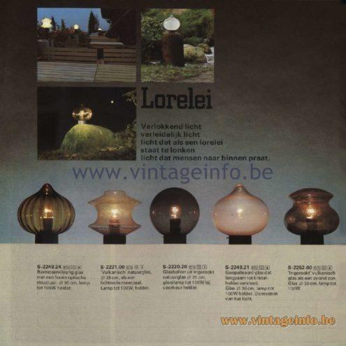 Raak Catalogue 11, 1978 - Raak Outdoor Lamps Lorelei - S-2249.24, S-2221.00, S-2220.20, S-2249.21, S-2252.00