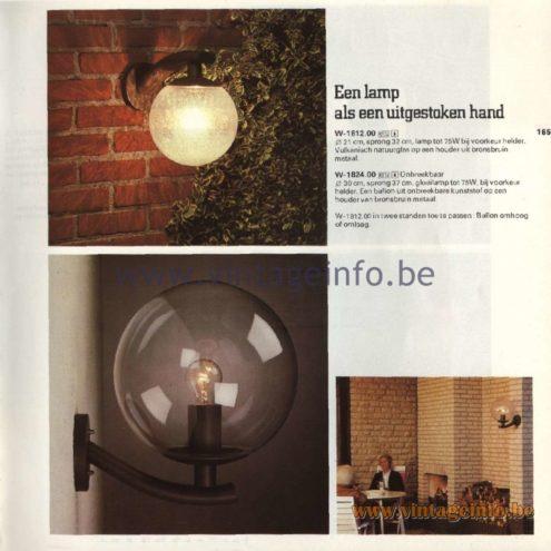 Raak Catalogue 11, 1978 - Outdoor Lamps W-1812.00, W-1824.00 - Een lamp als een uitgestoken hand - A lamp as an outstretched hand