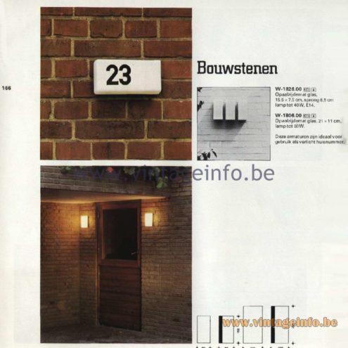 Raak Catalogue 11, 1978 - Outdoor Lamps Bouwstenen - Building Blocks W-1826.00, W-1806.00