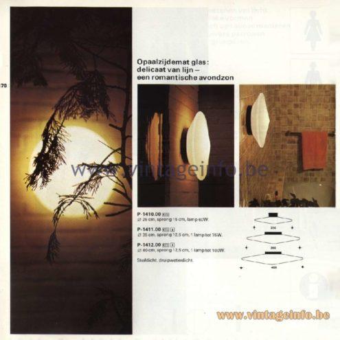 Raak Catalogue 11, 1978 - Outdoor/Indoor Lamps Discus P-1410.00, P-1411.00, P-1412.00