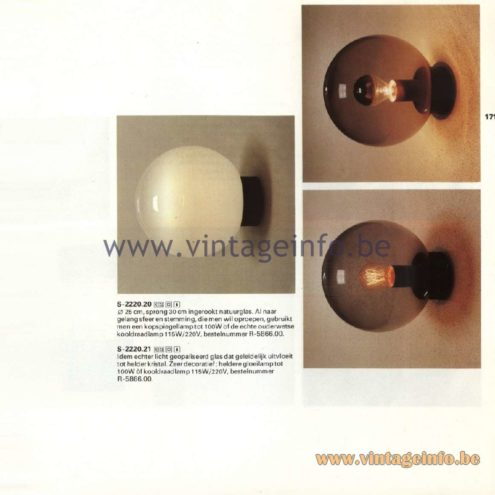 Raak Catalogue 11, 1978 - Outdoor/Indoor Lamps S-2220.20, S-2220.21