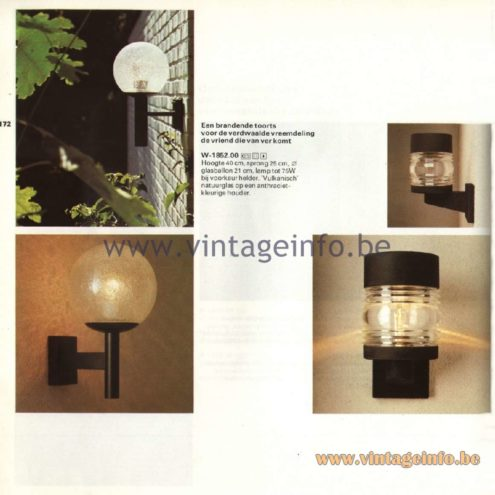 Raak Catalogue 11, 1978 - Outdoor Lamps W-1852.00 and Ankerlicht (anchor light) W-1825.00
