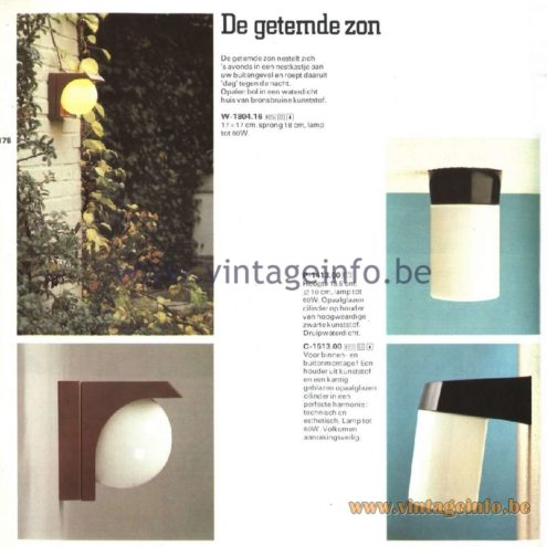 Raak Catalogue 11, 1978 – De Getemde Zon - The Tamed Sun - W-1804.16, P-1413.00, C-1513.00