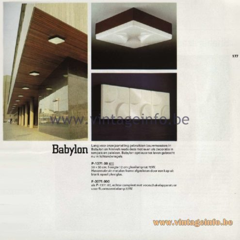 Raak Catalogue 11, 1978 – Outdoor Ceiling or Wall Lamps Babylon P-1371.00, F-3071.000
