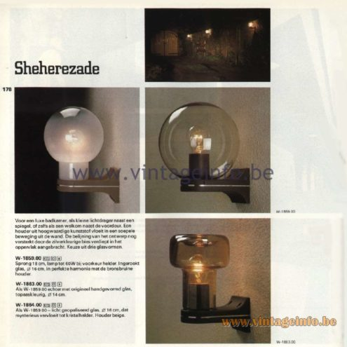 Raak Catalogue 11, 1978 – Outdoor Wall Lamps Sheherezade W-1859.00, W-1863.00, W-1864.00