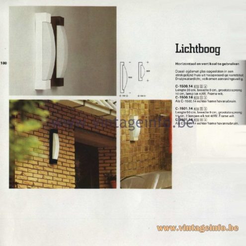 Raak Catalogue 11, 1978 – Outdoor Wall Lamps Lichtboog - Arc or light bow - C-1500.14, C-1500.16, C-1501.14