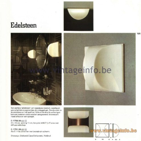 Raak Catalogue 11, 1978 – Outdoor Wall Lamps Edelsteen - Gemstone C-1730.00, C-1731.00 Design goldsmith Clara Schiavetto