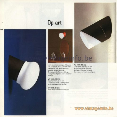 Raak Catalogue 11, 1978 – Outdoor/Indoor Wall Lamps Op-art W-1809.13, W-1809.25, W-1865.00