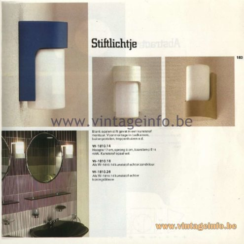 Raak Catalogue 11, 1978 – Outdoor/Indoor Wall Lamps Stiftlichtje - pen light W-1810.14, W-1810.16, W-1810.26