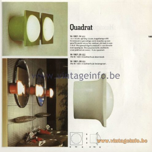 Raak Catalogue 11, 1978 - Raak Outdoor Lamps Quadrat W-1801.24, W-1801.25, W-1801.28