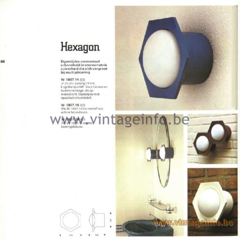 Raak Catalogue 11, 1978 - Raak Outdoor Lamps Hexagon W-1801.14, W-1801.25, W-1801.28