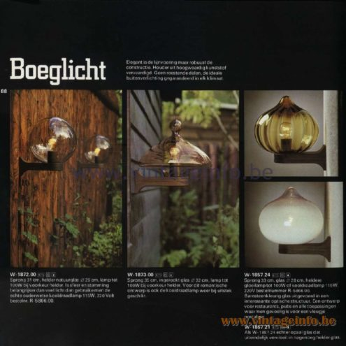 Raak Catalogue 11, 1978 - Raak Outdoor Lamps Boeglicht - Bow Light W-1872.00, W-1873.00, W-1857.24, W-1857.21