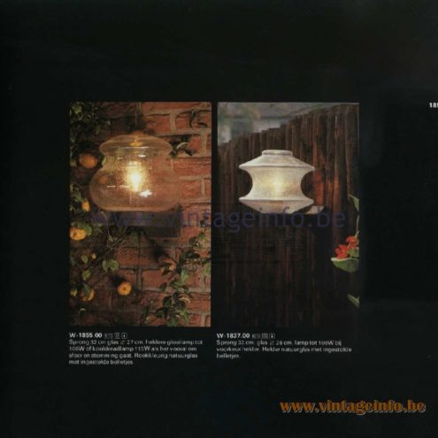 Raak Catalogue 11, 1978 - Raak Outdoor Lamps Boeglicht - Bow Light W-1855.00, W-1837.00