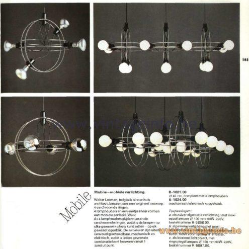 Raak Catalogue 11, 1978 - Pendant Lamps & Chandeliers Mobile - B-1021.00, B-1024.00, Design Walter Leeman