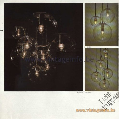 Raak Catalogue 11, 1978 - Pendant Lamps & Chandeliers Lichtdruppels - Light Drops - B-1285.00, B-1120.00