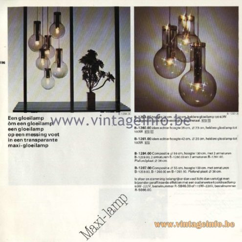 Raak Catalogue 11, 1978 - Pendant Lamps & Chandeliers Maxi-lamp - B-1259.00, B-1260.00, B-1261.00, B-1284.00, B-1287.00