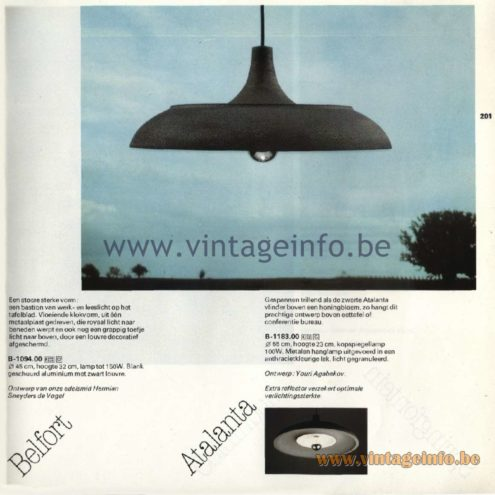 Raak Catalogue 11, 1978 - Atalanta Pendant Lamp. Design Youri Agabekov.