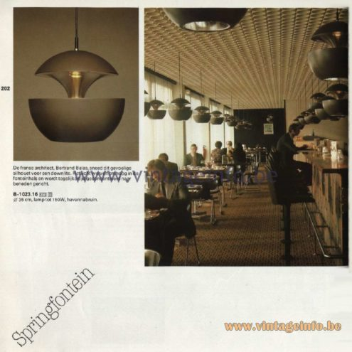 Raak Catalogue 11, 1978 - Springfontein Pendant Lamp, design Bertrand Balas.