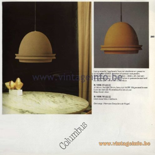 Raak Catalogue 11, 1978 - Columbus Pendant Lamp. Design Hermien Sneyders de Vogel.