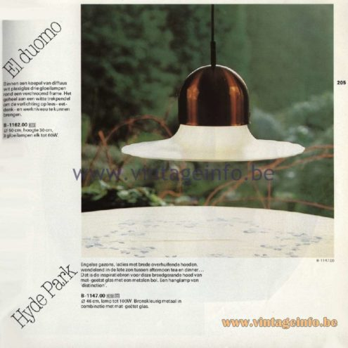 Raak Catalogue 11, 1978 - Hyde Park Pendant Lamp