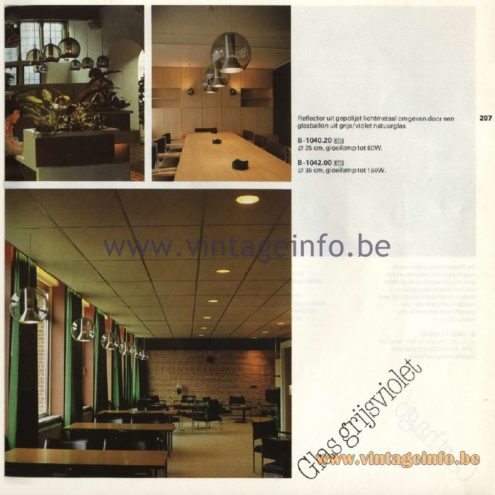 Raak Catalogue 11, 1978 - Glas Grijsviolet Pendant Lamp