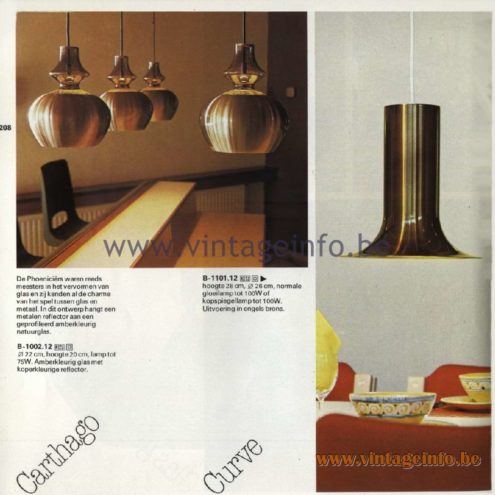 Raak Catalogue 11, 1978 - Carthago Pendant Lamp, Curve Pendant Lamp