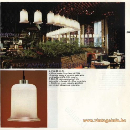 Raak Catalogue 11, 1978 - B-1103.00 Pendant Lamp