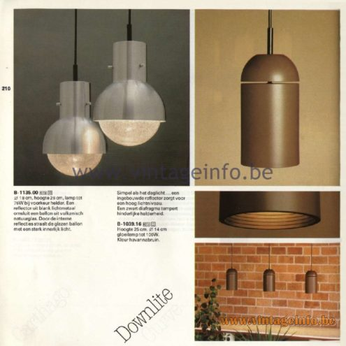 Raak Catalogue 11, 1978 - Downlite Pendant Lamp