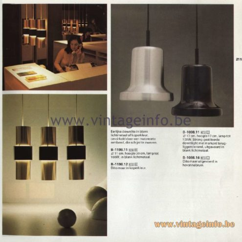 Raak Catalogue 11, 1978 - Downlite Pendant Lamps