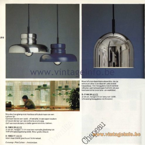 Raak Catalogue 11, 1978 - Chapeau Pendant Lamp & Raak Downlite Pendant Lamp