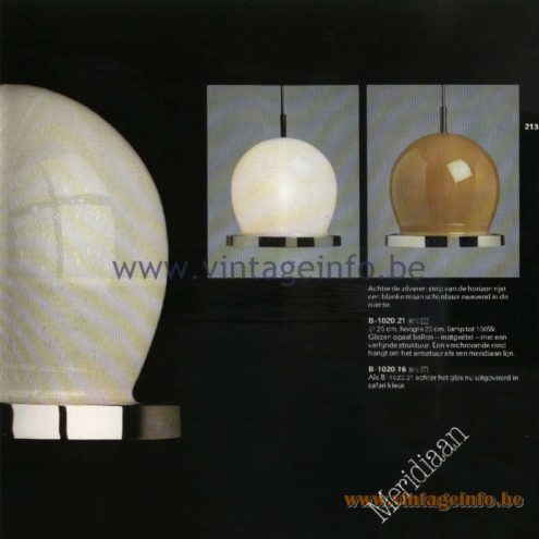 Raak Catalogue 11, 1978 - Meridiaan Pendant Lamp