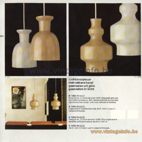 Raak Catalogue 11, 1978 - Lichtsculptuur Pendant Lamps