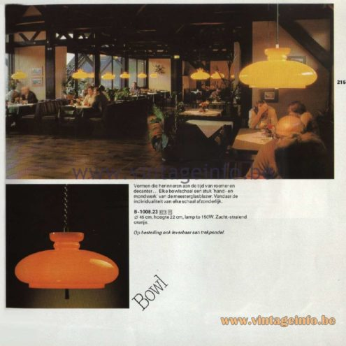 Raak Catalogue 11, 1978 - Bowl Pendant Lamp