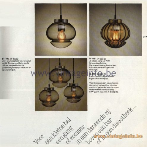 Raak Catalogue 11, 1978 - Raak Pendant Lamps B-1181.24, B-1181.20