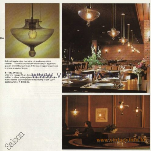 Raak Catalogue 11, 1978 - Raak Saloon Pendant Lamp B-1052.00