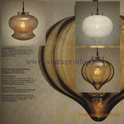 Raak Catalogue 11, 1978 - Raak Pendant Lamps B-1138.00, B-1139.24, B-1139.21