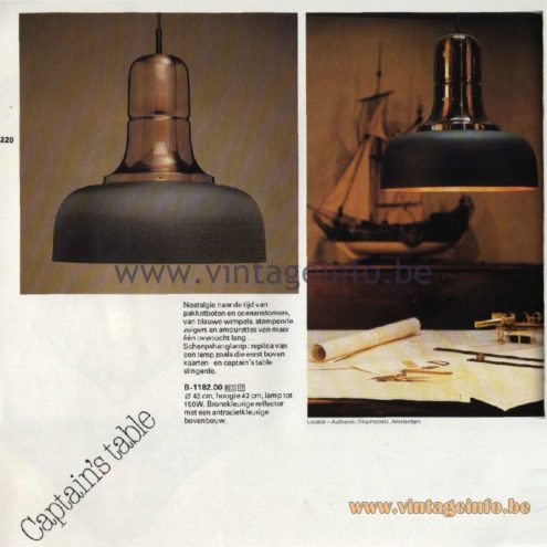 Raak Catalogue 11, 1978 - Raak Captain's Table Pendant Lamp B-1182.00