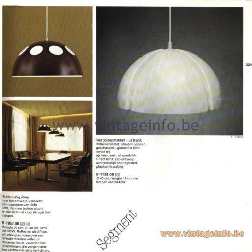 Raak Catalogue 11, 1978 - Raak Pendant Lamp B-1057.00, Raak Segment Pendant Lamp B-1182.00