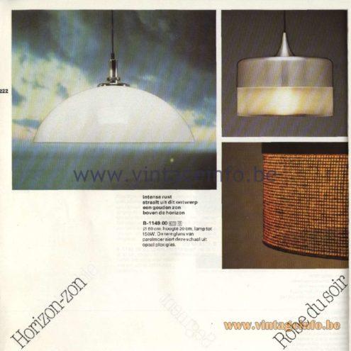 Raak Catalogue 11, 1978 - Raak Horizon-Zon Pendant Lamp B-1149.00, Raak Robe Du Soir Pendant Lamp B-1144.11, B-1144.16,