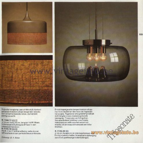 Raak Catalogue 11, 1978 - Raak Robe Du Soir (Evening Dress) Pendant Lamp B-1144.11, B-1144.16, Raak Triosonate Pendant Lamp B-1145.00