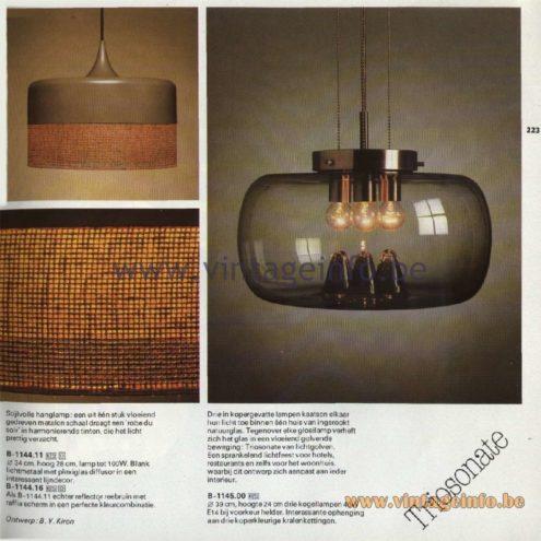 Raak Catalogue 11, 1978 - Raak Robe Du Soir (Evening Dress)Pendant Lamp B-1144.11, B-1144.16, Raak Triosonate Pendant Lamp B-1145.00
