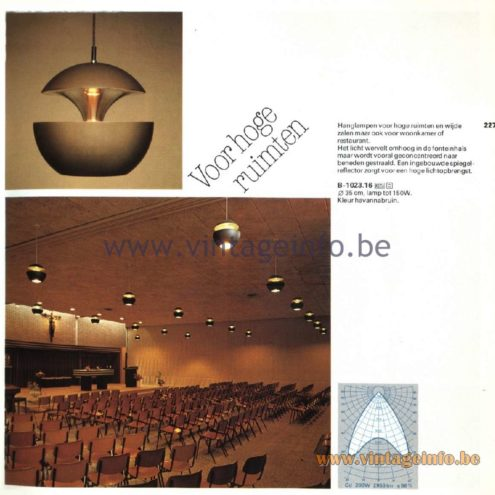 Raak Catalogue 11, 1978 - Raak Springfontein Pendant Lamp B-1023.16 (jump/spring fountain) Design: Bertrand Balas
