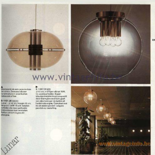 Raak Catalogue 11, 1978 - Raak Lunar Pendant Lamp B-1151.20, Raak B-1357.00 Pendant Lamp
