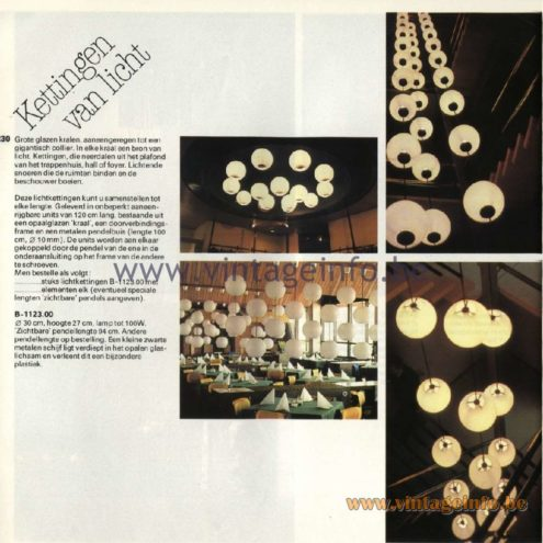 Raak Catalogue 11, 1978 - Raak B-1123.00 Pendant Lamps - Kettingen van licht: Chains of light