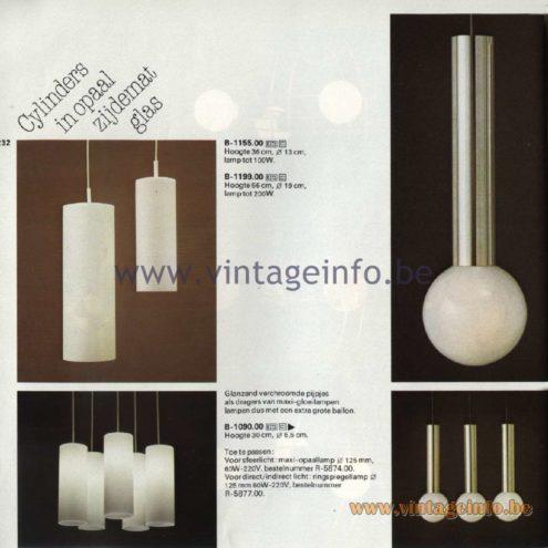 Raak Catalogue 11, 1978 - Raak Pendant Lamps B-1155.00, B-1199.00, B-1090.00