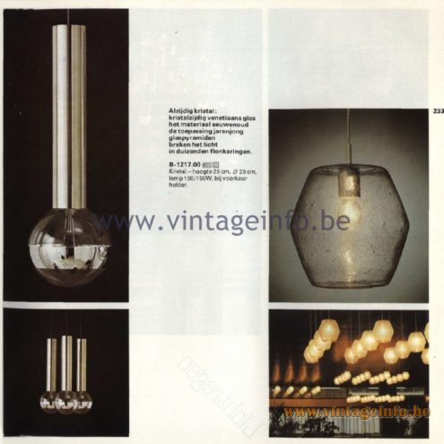 Raak Catalogue 11, 1978 - Raak Pendant Lamps B-1090.00, B-1217.00